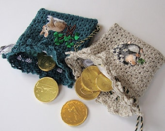 Crocheted Gift Bag, Jewelry Pouch, Gift Bag, Gift Pouch, Coin Purse, Good Luck Pouch, St. Patrick's Day, Gift for Her, Sold as Pair of Two