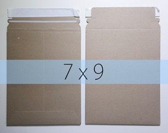 10 7x9 Inch Rigid Stay Flat Kraft Brown Rigid Mailers Self Sealing Photo Stickers Decals Shipping Cardboard Envelope Bag
