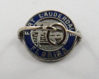 Enameled Mechanical Flipper Fort Lauderdale Florida Sterling Silver Charm or Pendant.