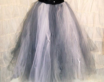 Silver Formal White Grey Shimmer Tulle Wedding Skirt sewn  and lined tutu Adult all sizes MTCoffinz