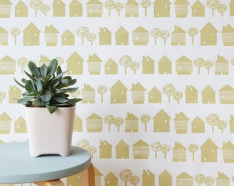 Scandinavian inspired wallpaper, sandy yellow houses on white, ideal for childrens room, living room, monochrome wall decor
