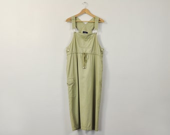 90s Minimal Jumper, Simple Jumper Dress, 90s Minimal Dress, Oversized Midi Dress, Vintage Olive Jumper, Sleeveless Dress, Overalls Dress
