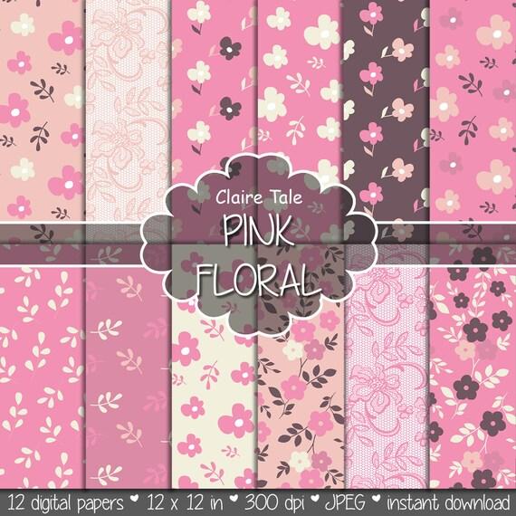 """Flower digital paper: """"PINK FLORAL PAPER"""" pink floral background / pink flower, leaves, lace pattern / pink floral background"""