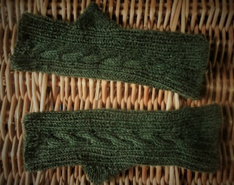 Womens ladies teen girls boys wristwarmers fingerless gloves handwarmers mitts handknitted with dark olive green merino wool cable design
