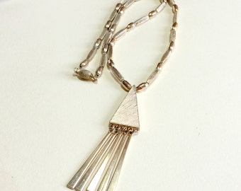 Vintage geometric pendant with dangles and beaded necklace, 20 inches long, gold geometric pendant, triangle pendant, mod pendant, 1970s