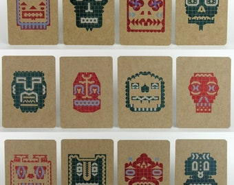 ZOMBIE MASKS made with Alpha Blox font 12 Pack of Hand-Printed Letterpress Prints masks Halloween art greeting cards invitations