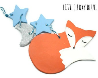 Clay fox decoration baby shower gift - fox ornament - new baby gift - nursery decor - woodland decoration - personalised ornament - fox
