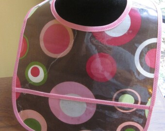 WATERPROOF WIPEABLE Baby to Toddler Plastic Coated Bib Brown with Pink Dots and Circles