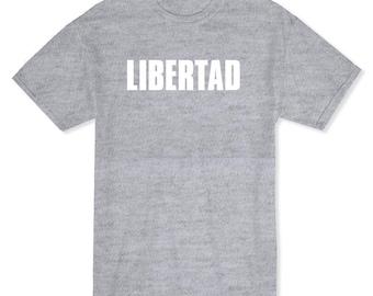 Libertad Spanish Freedom Word Men's Heather Grey T-shirt