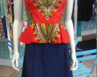 Reversible Pin Up Halter with Fitted Bodice and Flirty Peplum in Red Dashiki Print