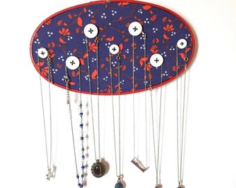 Necklace Hanger - Jewelry Organizer- Buttons - Modern Functional Embroidery - 5 x 9 Inch Hoop