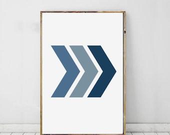 Chevron Art Print Geometric, Blue Wall Print, Chevron Modern Art, Geometric Print, Shape Print, Modern Art For Home