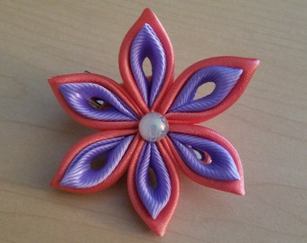 Coral & purple Tsumami Kanzashi Hair Clip
