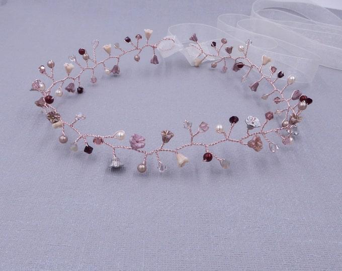 Custom colours, Bridal hair vine, crown, cameo, blush, cream, Swarovski crystal, wedding hair flower garland, bride, chic,  green, blue