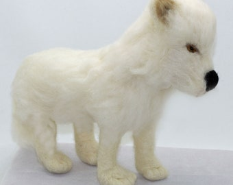 Needle Felted Arctic Wolf Wool Animal Sculpture