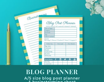 Blog Post Planner with Brainstorming sheet / A5 Printable Planner Inserts /Blog Organizer / INSTANT DOWNLOAD