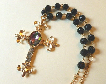Fabulous FLEUR DI LIS Cross, Cross Necklace with Rainbow Cabochon, Rhinestones, Black Jet Beads,  Vintage Cross Necklace, Rainbow Cross