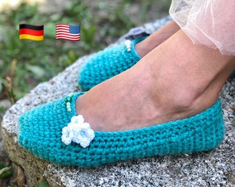 crochet pattern slippers shoes UNDINA size US 4 - 8,5