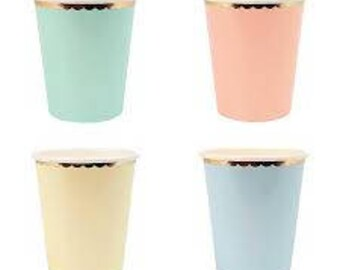 Pastel Cups, Meri Meri, Coral, Mint, Yellow, Blue, Baby Shower Cups, Pastel Party Cups, Assorted Pastel Paper Cups, First Birthday