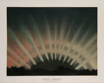 "Etienne Leopold Trouvelot : ""Aurora Borealis"" (The Trouvelot Astronomical Drawings, 1882) - Giclee Fine Art Print"