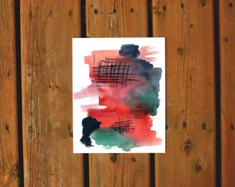 Wall Art Watercolor Print | Abstract Home Decor | Watercolor Abstract Gallery Wall Red Navy Teal Peach Art Print Original Painting