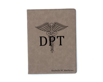 Doctor of Physical Therapy Personalized Leatherette Portfolio DPT Physical Therapist Gift