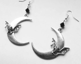 Bat Crescent Earrings