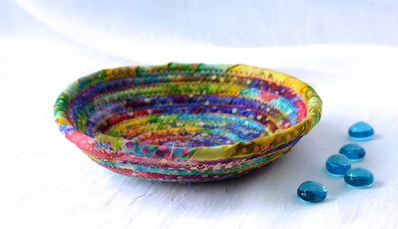Bohemian Fiber Basket, Blue Boho Basket, Handmade Rustic Batik Key Basket, Decorative  Bowl, Girl Ring Dish Tray