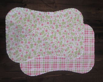 Set of 2, Flannel Ragged Edge Burp Cloth, Contoured, Baby Girl, Pink and White, Floral, Houndstooth, Baby Shower Gift
