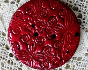 One unique metallic red polymer clay button, round button, large round button, handmade button, focal button, knitting, craft, unique button
