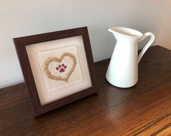 Paw print in a heart, fused glass framed picture