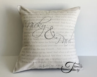 Wedding Vow Pillow cover, Wedding song, Anniversary gift, Song Lyric pillow, Favourite Poem, First Dance, Second Anniversary Cotton Gift
