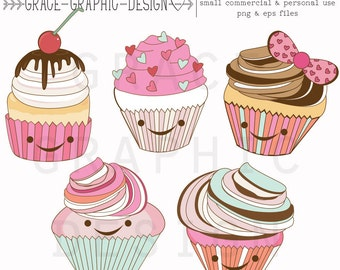 Clipart, Cute Cupcake Clipart, Commercial Use Graphics, Cute Cupcake Graphics, Food Clipart, Birthday Clipart, Digital Download Clipart,
