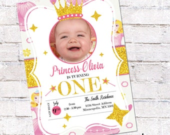 Princess Birthday Invite. Princess First Birthday. Pink and Gold Glitter Birthday. Option for double sided. Personalized - Digital File