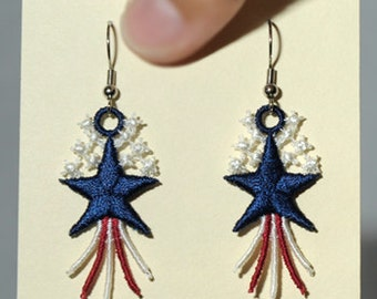 Lace Patriotic Star Earrings