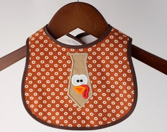 Thanksgiving Infant Turkey Bib with Snap Closure Turkey Tie Embroidered Baby Bib