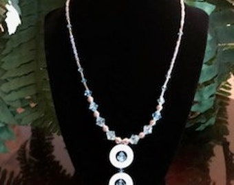Beaded Necklace with Double Circle Pendant