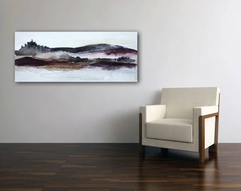 Black, purple, purple abstract landscape painting with gold foil made to order