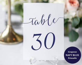 Navy Table Number Set - Printable Table Numbers - Set of 1-30 - Navy Blue Wedding cards - Instant Download - 5x7 inch cards - #GD0908