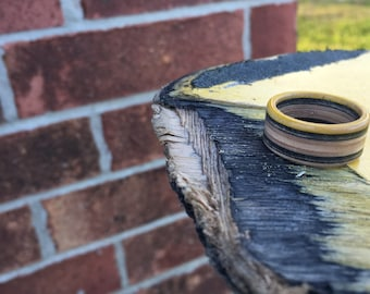 Handmade Wooden Recycled Skateboard Ring - Yellow, Black, & Maple
