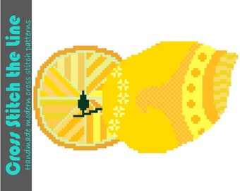 Modern Boho cross stitch pattern of mellow yellow lemons. Contemporary embroidery chart. Retro kitchen decor.