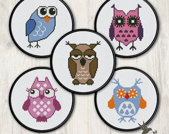FIVE Owl Cross Stitch Patterns (collection#1),  modern cross stitch pattern, needlecraft