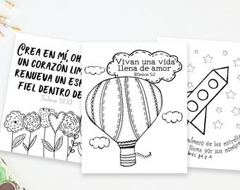Spanish Bible Verse Coloring Pack and Bundle for Kids, Set of 7,  Instant Download