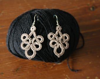 Taupe tatting crochet earrings