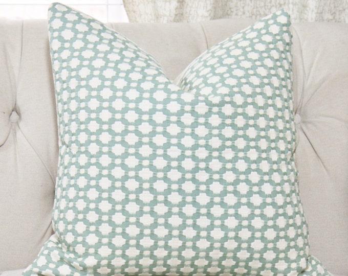 Schumacher Betwixt Pillow Cover - Water Ivory - Designer Pillow - Sea Glass Pillow- Throw Pillow - Designer Pillow - Sea Foam Green