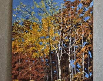 Vintage Original Oil Painting of Fall Autumn Birch Trees
