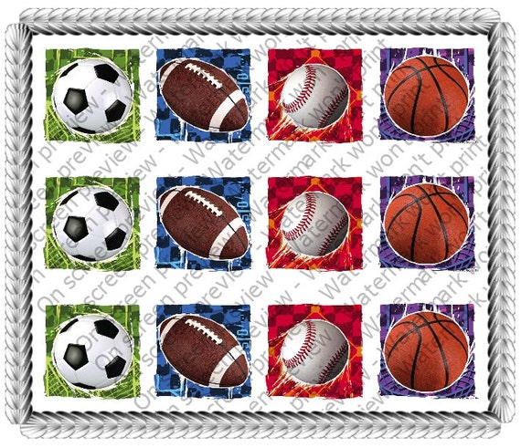 Sports Birthday Designer Strips - Edible Cake Side Toppers- Decorate The Sides of Your Cake! - D20023