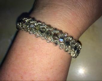 Flat Spiral Silver Sparkle Bracelet
