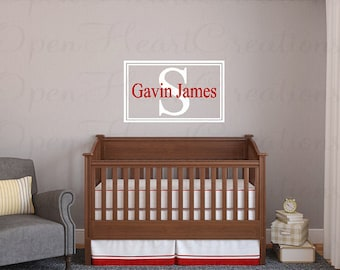 Modern Name Wall Decal with Initial and Name - Rectangle Name Monogram Decal for Teen Boy or Baby Nursery FN0405