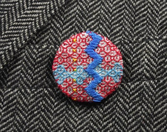 Red and Blue Chevron Embroidered Badge